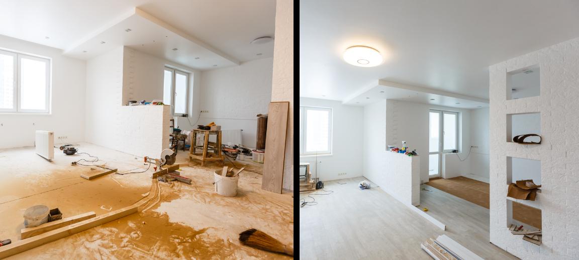 リフォーム・リノベーションをしている住宅の内装作業の様子